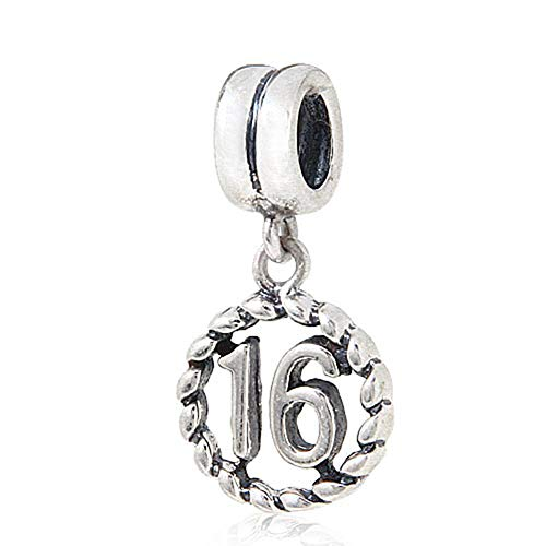Abalorio de plata de ley con numero de la suerte, para pulsera Pandora (16 anos)