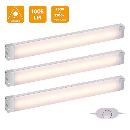 3er LED Unterbauleuchte Schrankleuchte, Warmweiß 3000K Stufenlos-dimmbar Schrankbeleuchtung mit Stecker, 12V DC Vitrinenbeleuchtung, Energiesparende Küchenlampen, Alle Zubehör inkl