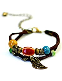b588adb7dcca Ogquaton Durable bohemio colorido perla hoja colgante pulseras pu cuero  brazaletes para mujeres hombres…