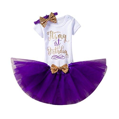ugeborene Kinder Baby Mädchen Blumen Kleid Kurzschluss Hülsen Oberseiten T-Shirt Tops Kurzarm Geburtstag Party Kleidung Strampler + Rock + Stirnband Set Outfits (1, Lila) (Kleinkind Lila Schmetterling Fee Kostüm)