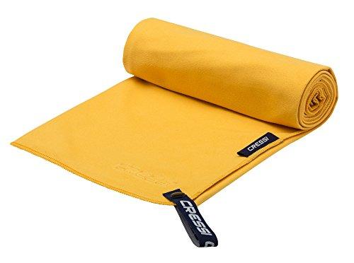 Cressi fast drying, asciugamano sportivo in microfibra unisex-adulto, giallo, 30 x 50 cm