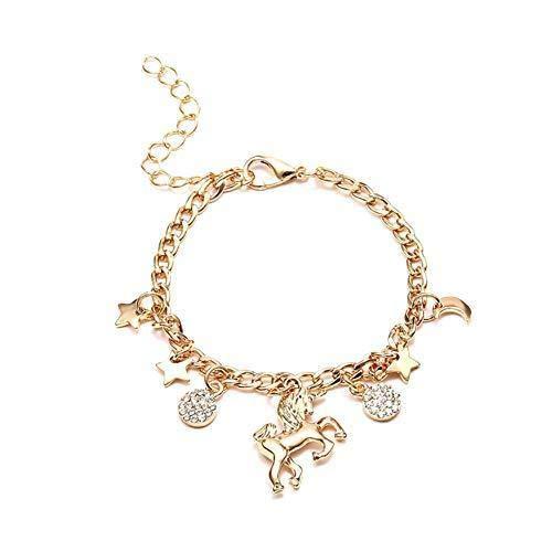 Hoveey Legierung Armband Cartoon Einhorn Form Anhänger Armreif klassisch verstellbar Kette Gliederschmuck Geschenk für Damen Mädchen ()