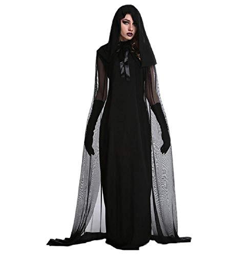 (Lovelegis Größe XXL - Hexenkostüm - Priesterin - Zauberin - Morticia - Geisterbraut - Vampir - Schwarze Farbe - Verkleidung Karneval Halloween Cosplay Zubehör - Frau Mädchen)