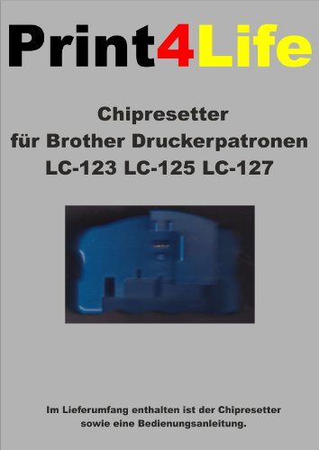 CHIP RESETTER für Brother LC-123 LC-125 LC-127 Patronen dieser Drucker: MFC-J 4710 DW * DCP-J 4110 W * MFC-J 4510 DW * DCP-J 4110 DW * MFC-J 4410 DW * MFC-J 4610 DW -
