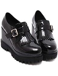 Onfly Bomba Zapatos casuales Tacones de cuña De las mujeres Cómodo Plataforma gruesa Punta redonda Charol Borla Cinturón metálico Buckel Estilo británico Zapatos de la Corte Muffins Zapatos Tamaño 35-39 de , black , 38