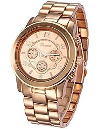 Reloj de pulsera - Geneva reloj de pulsera unisexo de banda de acero  inoxidable de color 47cd45cd628