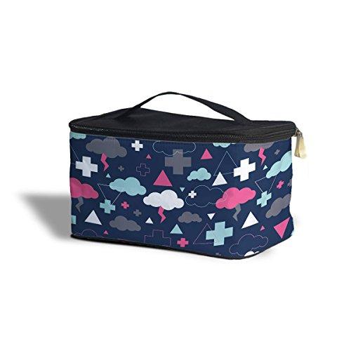 Geométrico Thunder nubes cosméticos caja de almacenamiento–maquillaje con cremallera bolsa de viaje, azul, One Size Cosmetics Storage Case