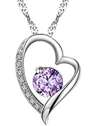 Chaomingzhen Rhodiniert 925 Sterling Silber Lila Zirkonia Herz Anhänger Halskette Damen Kette