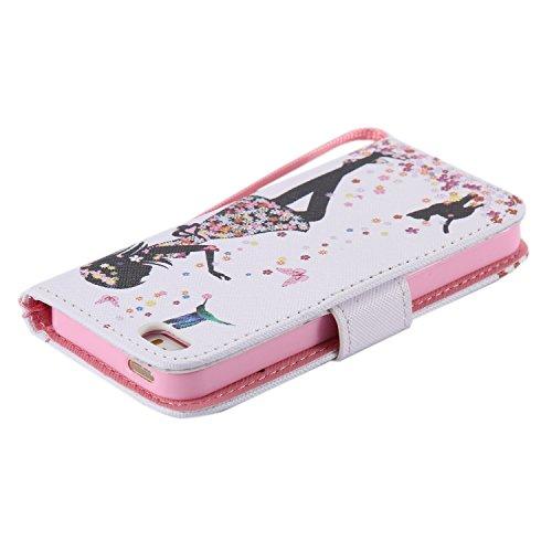 Schutzhülle für Apple iPhone 5s 5 case Wallet Leder Schale Tasche Magnet PU Hülle Handy Silikon Back Cover Etui Skin Shell Purse Portemonnaie Geldbörse(Standfunktion,Kreditkartenfach,Stylus,folie,Rein Blumen mädchen Vogel katze