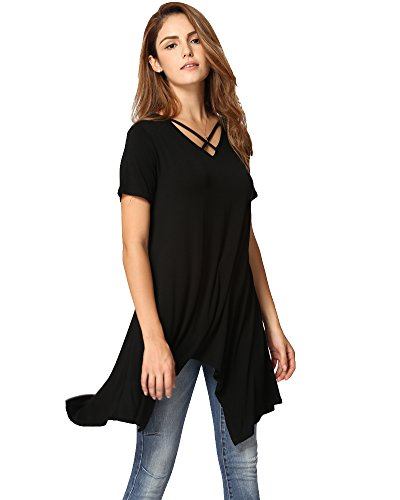 Anself T-Shirt Kleid Damen Criss Cross V Neck Kurzarm Bluse Asymmetrisches Loose Casual Tunika Top Schwarz