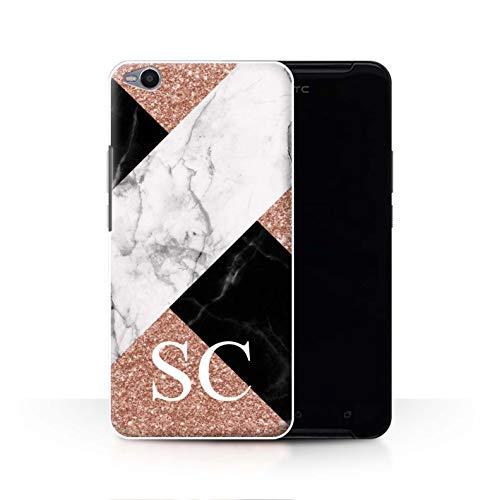 Stuff4® Personalisiert Individuell Roségold Glitter Marmor Hülle für HTC One X9 / Kreuz Monogramm Design/Initiale/Name/Text Schutzhülle/Case/Etui