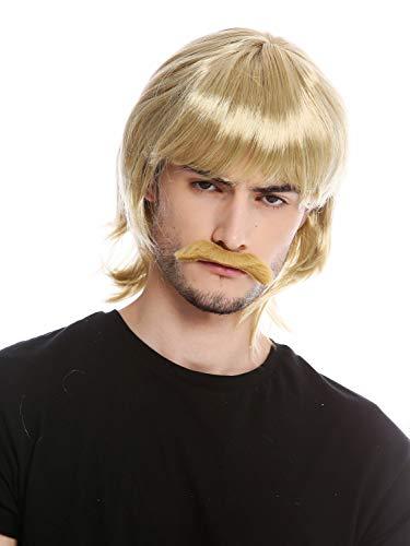 Wig me up - 91105-ZA89 Perücke Bart Set Karneval Halloween Lang Blond 70er Jahre Bulle Polizeiserie