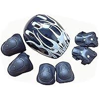 TUPWEL 1 Set de 7 piezas 3-11 años niño viejo ajustable casco rodillera codo muñequeras protectores Gear Pads Set para monopatín patinaje bicicleta BMX bicicleta rodillo patinaje ciclismo deportes al aire libre niños niño