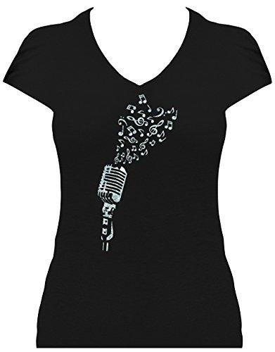 Premium Fun Shirt Damen I love music - Mikrofon mit Noten als Herz Glitzeraufdruck Schwarz/Silber