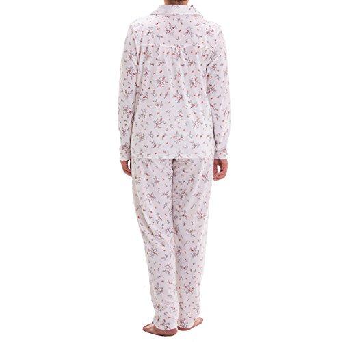 Lucky à manches longues pour femme avec imprimé floral stickerrei et pyjama Weiß