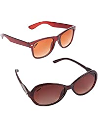 Criba Combo Of 2 Cat Eye (Brown) Wayfarer (Brown) Unisex Perfect Fit & Stylish Sunglasses Ldy Brn+kc Bnsd_CRLK03
