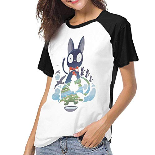 hdghg Tops für Damen,T-Shirts für Frauen,Raglan Baseball T-Shirt Kiki's-Delivery-Service-Flying-Jiji Printed Crew Neck Casual Tee Tops Unique Design Clothing -
