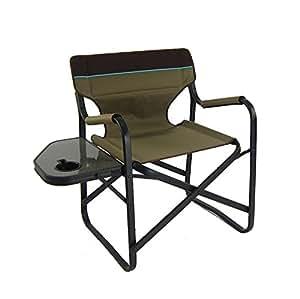 Chaise pliante portatif en Aluminium avec tablette - brun / fauteuil / mobilier de camping / jardin