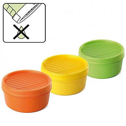 K&G TA1168404 3er Set Frischhaltedosen rund 0,5 L BPA frei | Schraubverschluss | ABSOLUT DICHT | Stapelbare Vorratsdose Mikrowelle-& Spülmaschinenfest