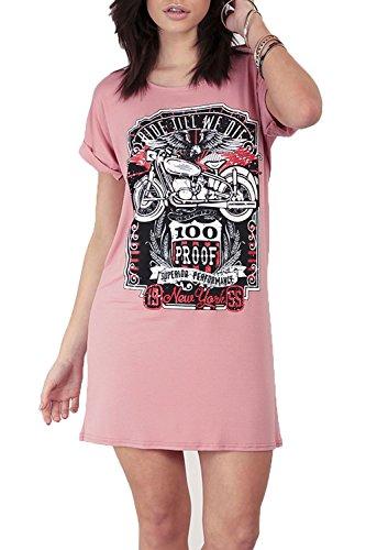 Be Jealous Damen Aufgerollter Ärmel Freizeit Baggy Rock America 100 Dicht T-Shirt Kleid UK Übergröße 8-22 Rosa