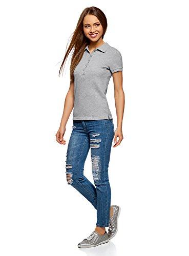 oodji Ultra Damen Pique-Poloshirt Basic Grau (2000M)