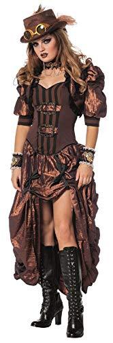 narrenkiste W4403-48 braun-schwarz Damen Rokoko Steampunk Burlesque Kleid Gr.48
