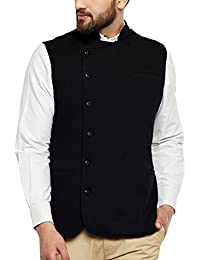 Hypernation Black Color Side Button Cotton Waistcoat For Men (HYPM01904)