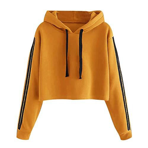 Mujer Sudaderas con Capucha Manga Larga, BBestseller Camisetas Tops Casual Sweatshirt Abrigo Deportes Pullover Rayas Deporte Mujeres Otoño e Invierno