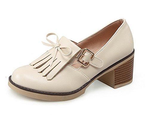 Senhoras Allhqfashion Material Macio Puro Em Meados De Calcanhar Sapatos De Fivela Toe Bombas De Creme