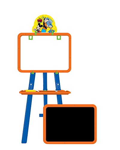Disney Mickey 5 in 1 double sided learning easel for kids/Height adjustable white & black board/Multifunctional writing board/ White board to draw/ chalk board to write/ activity sheets to develop skills/ mind development toys/ Multi color toys for kids (colors may vary from illustration)