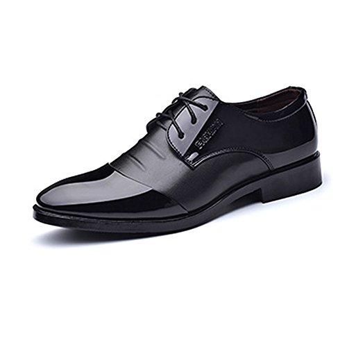 Sunny&baby scarpe da lavoro formali da uomo smooth pu in pelle giubbotto con lacci in pizzo traspirante resistente all'abrasione ( color : nero , dimensione : 46 eu )
