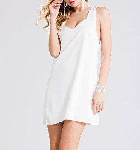 Smile YKK Femme Robe Courte Peplum Slim Chiffon Uni Blanc