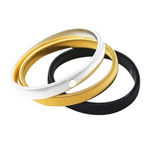 FENICAL 3pcs Metall Armband Armband dehnbar Armband Ärmel Manschette Armbinde (Schwarz + Silber + Golden)