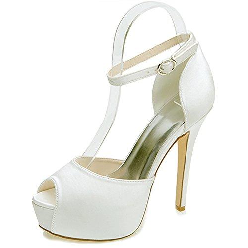 Elobaby donna scarpe da sposa abito raso abito raso tacco alto con fibbia/35-43 taglia/12,5 heel, ivory, 41