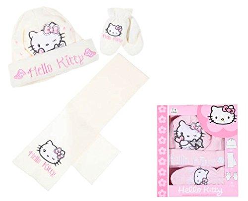 Set Schal Mütze und Fäustlinge Baby Mädchen Hello Kitty rosa und Ecru von 6bis 36Monate (Fäustlinge Mütze)