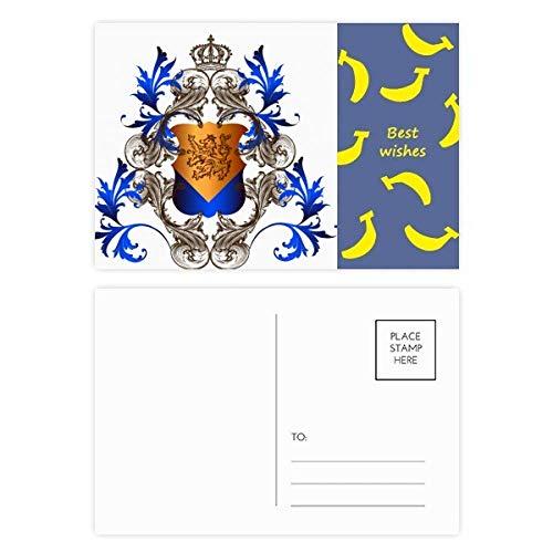 Mittelalterliche Knights of Europe Krone Emblem Schild Banana Postkarten-Set Danksagungskarte Mailing Seite 20 Stück