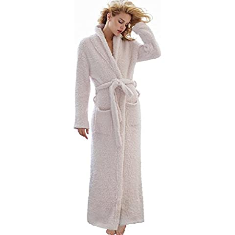 DMMSS Parejas extendido modelo batas de manga larga Camisón pijama caliente , s , milky white