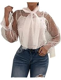 Damen Langarm, Frashing Frauen Spitze Spleißen Mode V-Ausschnitt Tops  Langarm Bluse Perspektive Net Garn Friesen Hemd Transparent… 71efa1ab0c