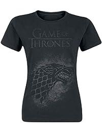 Game Of Thrones Juego de Tronos House Stark Camiseta Mujer Negro
