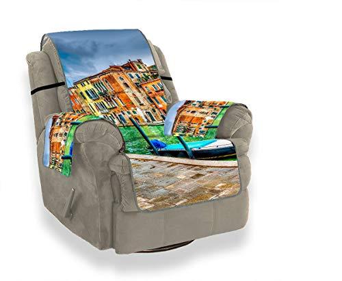 JEOLVP Schöne Aussicht Canal Venedig Italien HDR Stretch Sofa Abdeckung Sofakissen Pad Schonbezüge Lehnstuhl Möbel Beschützer Für Haustiere, Kinder, Katzen, Sofa -