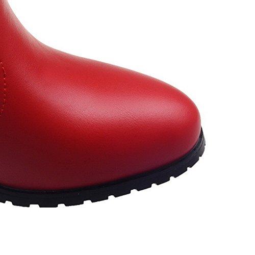 VogueZone009 Donna Tacco Medio Colore Assortito Punta Tonda Cerniera Stivali Rosso