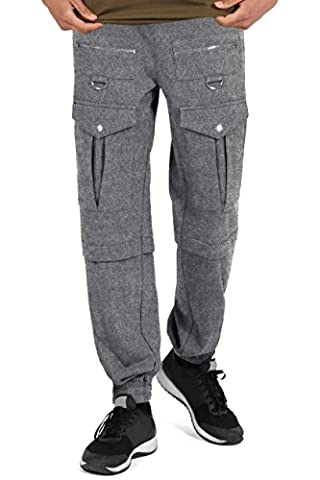 SHADE London Mens Heather Marl Grey Combat Zip Up Pocket Trackie Jogger Bottoms / Multiple Sizes Available (M)