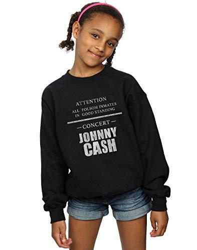 Absolute Cult Johnny Cash Mädchen Folsom Concert Sweatshirt Schwarz 7-8 Years