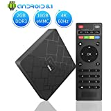 TV Box Android 8.1 - YANCHI HK1mini Smart TV Box Quad Core, 2GB RAM & 16GB ROM, 4K*2K UHD H.265, HDMI, USB*2, WiFi Media Player, Android Set-Top Box [Versión Mejorada]