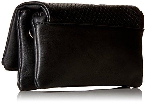 BMC Damen Tasche aus PU-Leder, Dreifach-Reißverschluss und Quaste Fashion Clutch-Handtasche Midnight Black