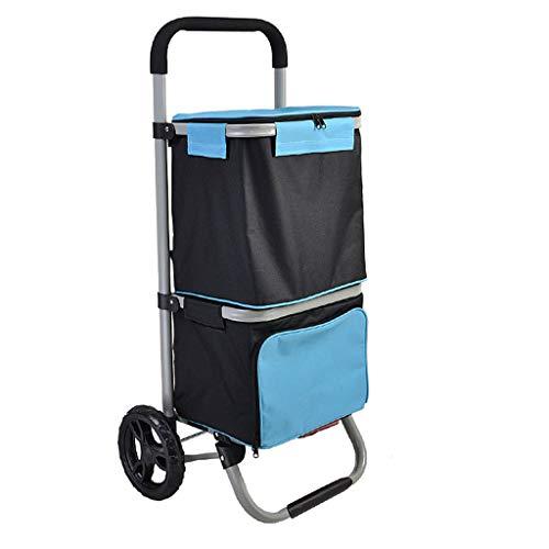 Unbekannt MENA Uk Tragbarer Einkaufswagen, Stahlrohrrahmen, Unterer Eisbeutel, Acht Zoll Tragendes Rad, Faltbarer Alter Einkaufswagen