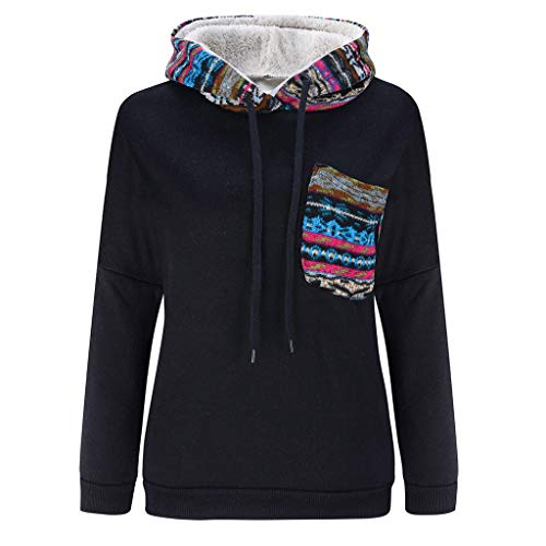 BHYDRY Frauen Casual Langarm Printed Stitching Hooded Plus Velvet Sweatshirt Non-stick-mantel
