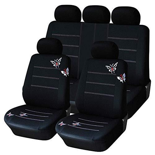 Lykaci Autositzüberzug Universal Schwarzer Schmetterling Gestickt Autozubehör Interieur for PKW, SUV Und LKW (Sitzbezug Für Mazda Suv)