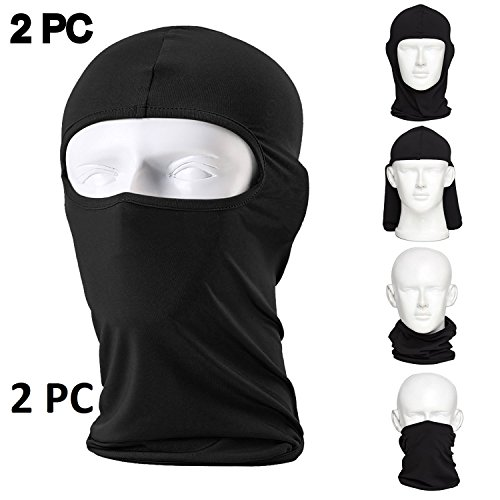 Nikavi Balaclava Ski Mask (2 Pack) Bicycle Premium Face Mask for Outdoors Riding Dustproof Cold Motorcycle Headgear Mask (Black_FreeSize)