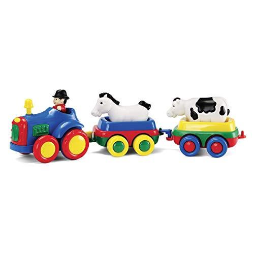 Tracteur à friction bleu et 2 animaux
